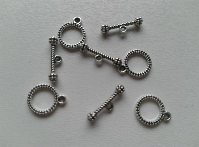 T-zár - karikás elem mérete: 13x10mm - antik ezüst szín (1 db)