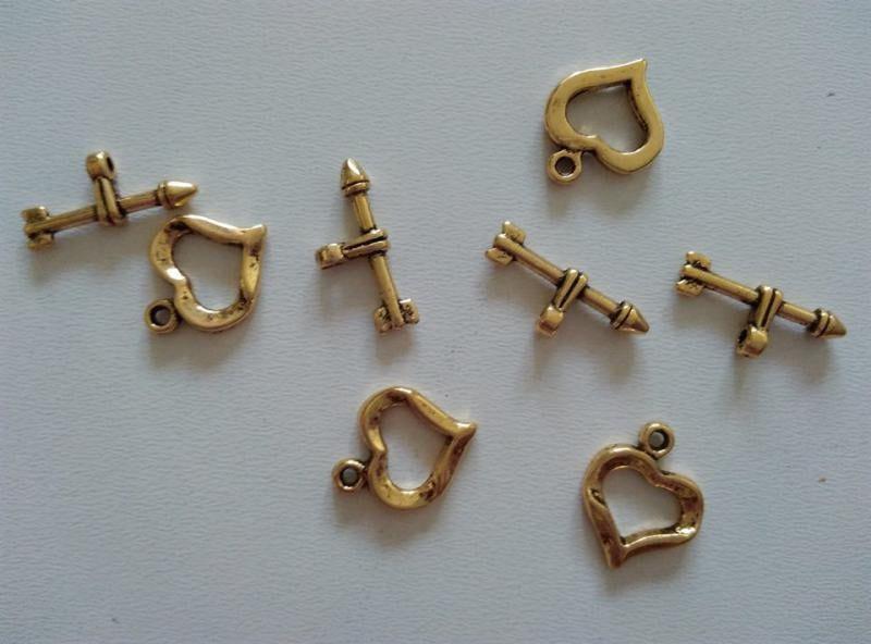 T-zár - szív elem mérete: 13x16 mm - antik arany szín (1 db)