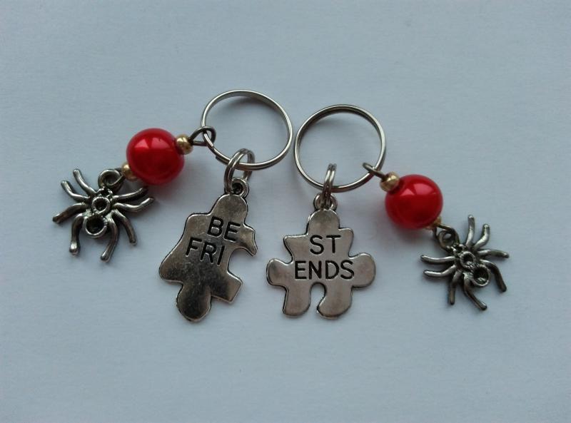 Mini kulcstartó, táskadísz szett - Best Friends - pók