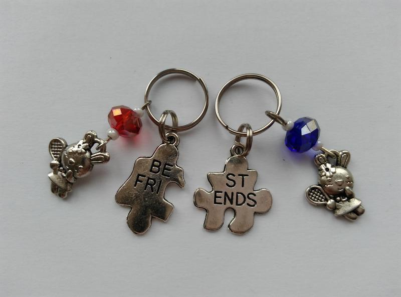 Mini kulcstartó, táskadísz szett - Best Friends - nyuszi