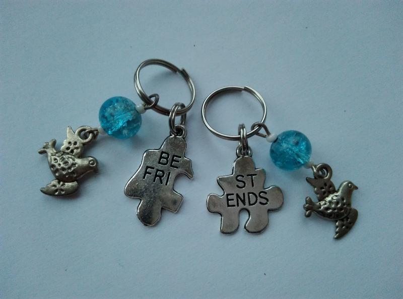 Mini kulcstartó, táskadísz szett - Best Friends - madárka