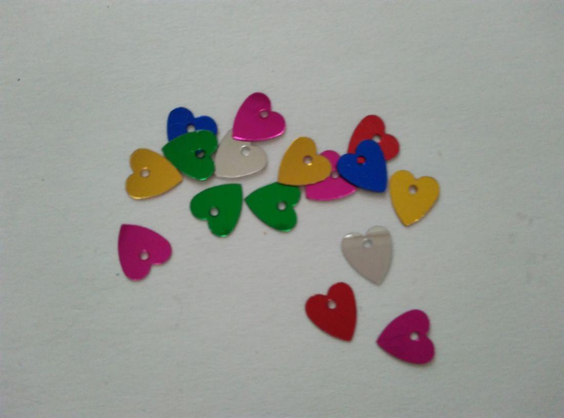 Szív alakú flitter - 7x7mm - vegyes szín - 50 db / csomag