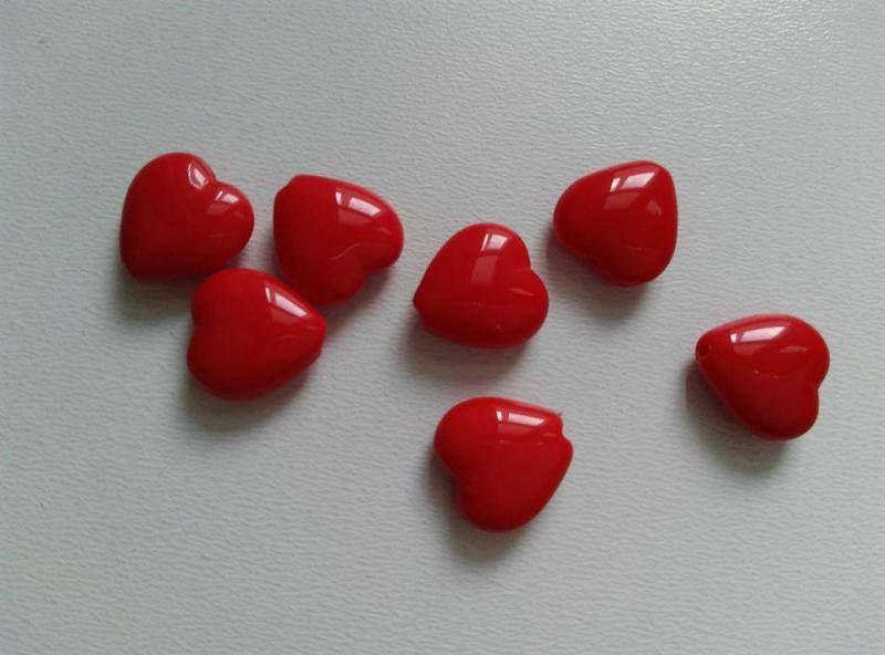 Cseh üveggyöngy szív - 12mm - piros - 12 db / csomag