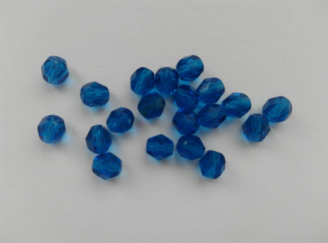 Cseh csiszolt üveggyöngy - 6mm - 10 db / csomag - kék