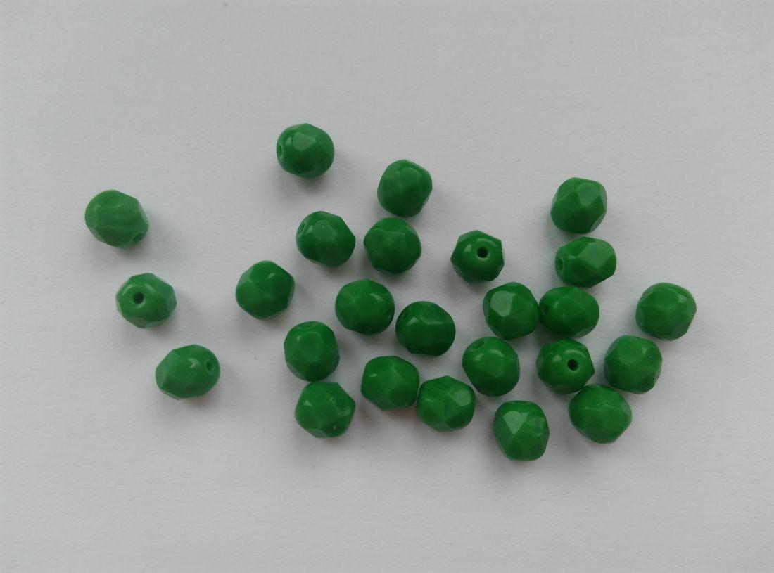 Cseh csiszolt üveggyöngy - 6mm - 10 db / csomag - zöld