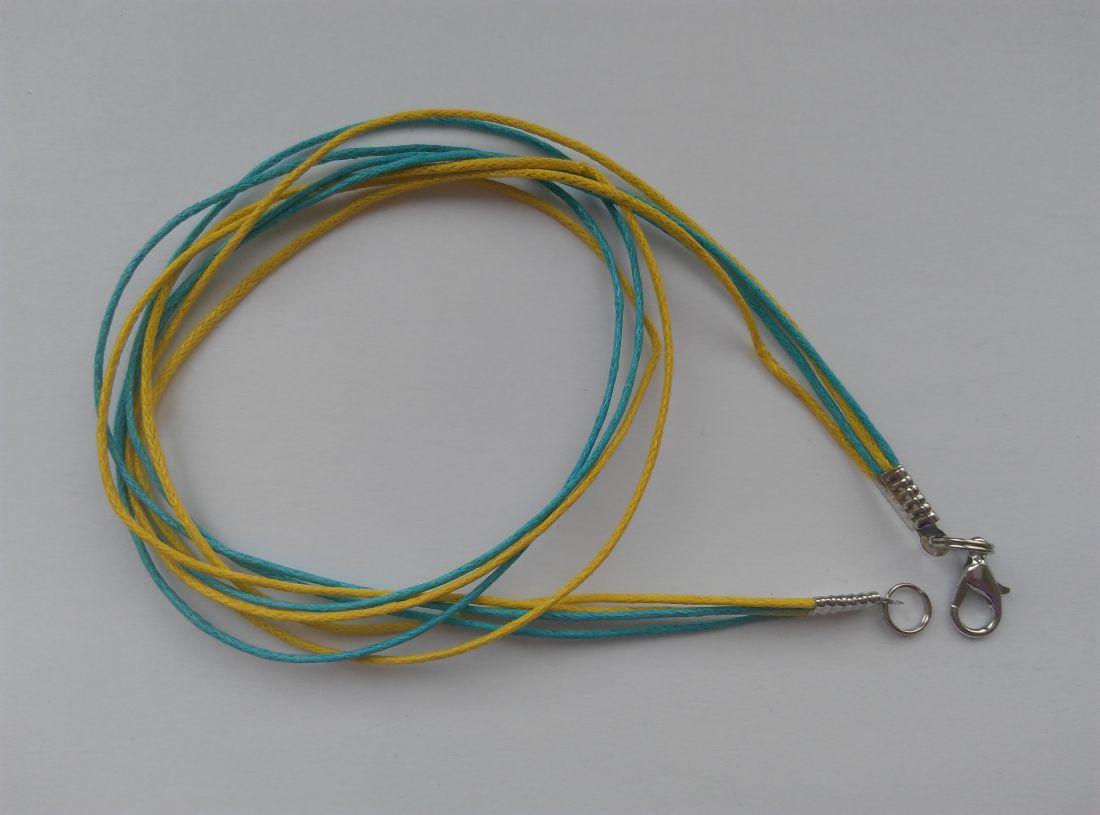 Viaszolt szálas nyaklánc alap - élénkkék-citrom - (1 db)