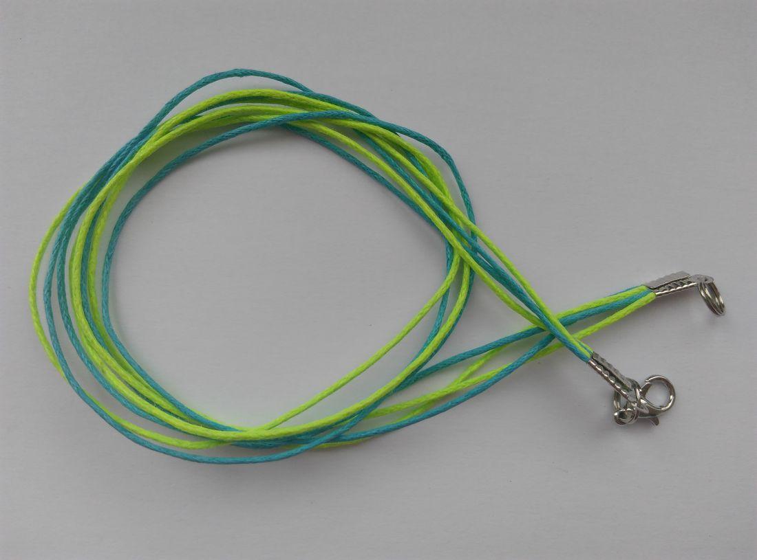Viaszolt szálas nyaklánc alap - élénkkék-élénkzöld - (1 db)