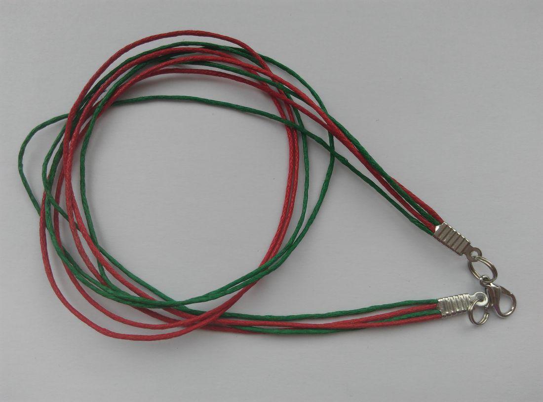 Viaszolt szálas nyaklánc alap - piros-sötétzöld (1 db)