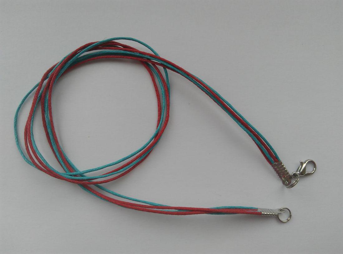 Viaszolt szálas nyaklánc alap - piros-élénkkék (1 db)