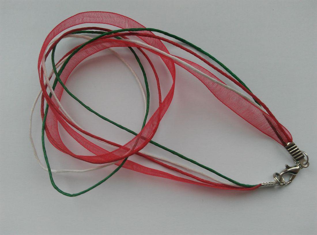 Organzás nyaklánc alap - nemzeti színű - rhodium színű zárral (1 db)