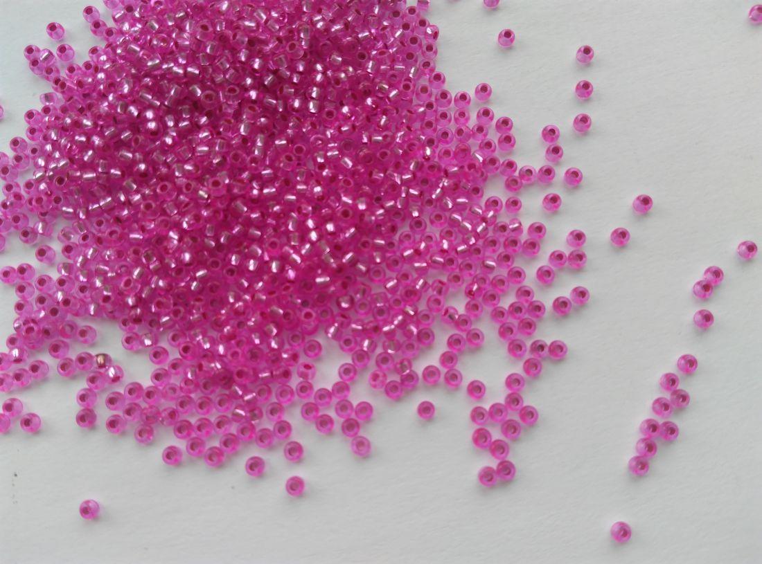 Cseh kásagyöngy - 10/0 méret - 25 gramm / csomag - ezüstközepű rózsaszín