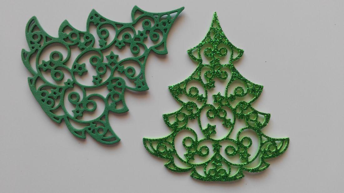 Dekorgumi karácsonyfa - 85 x 95 mm (6 db / csomag)