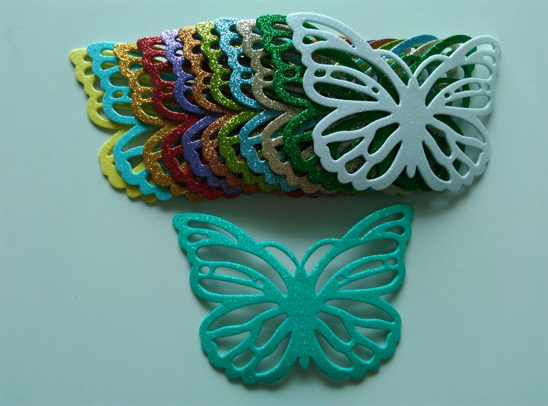 Öntapadós glitteres dekorgumi pillangó - 150 x 100 mm (1 db)