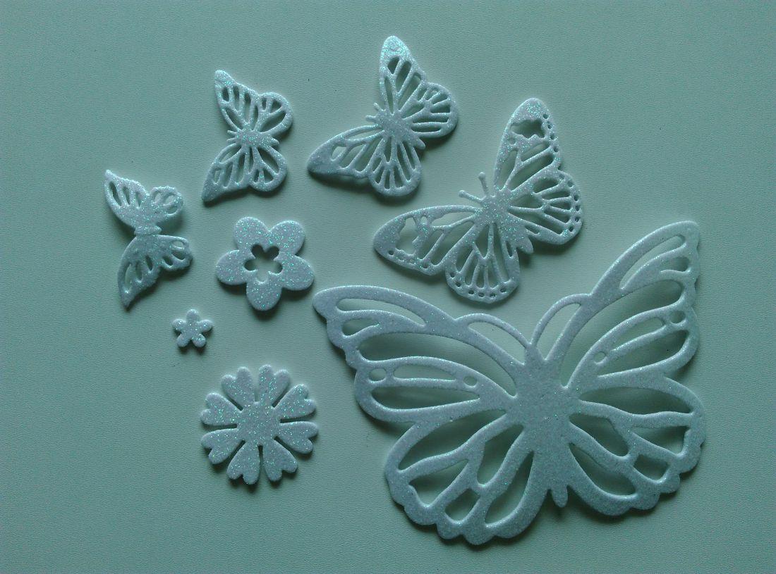 Öntapadós glitteres dekorgumi pillangó (8 db / csomag) - fehér