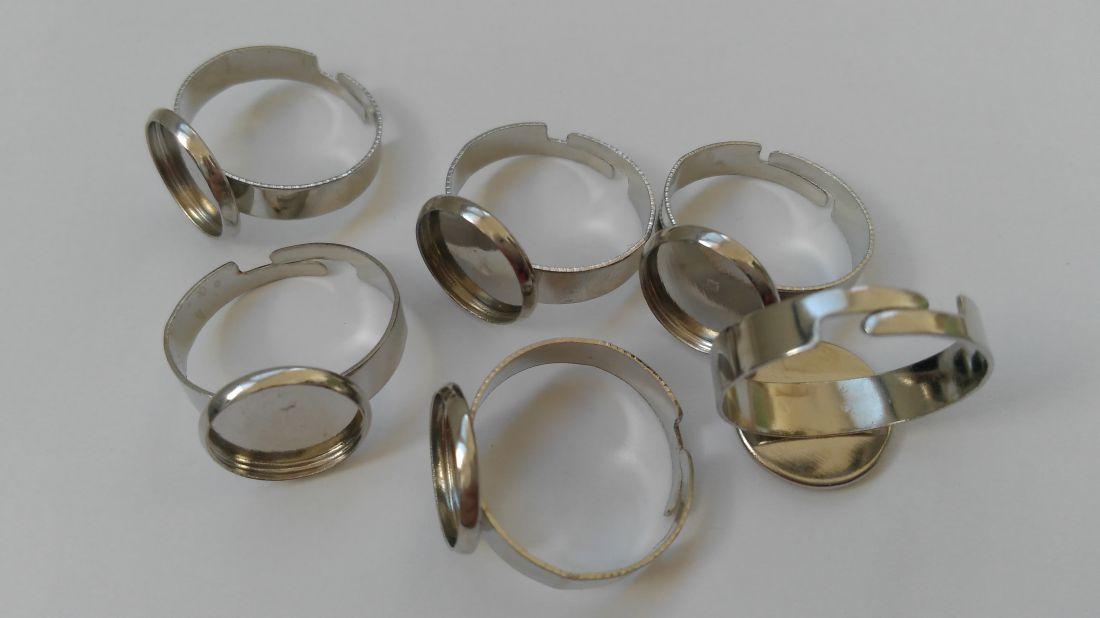 Ragasztható gyűrű alap 12mm-es lencséhez, rhodium szín (1 db)
