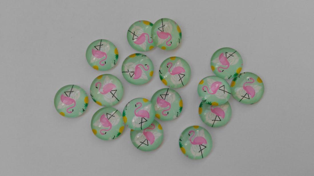 Üveglencse - 12mm - 10 db / csomag - flamingó