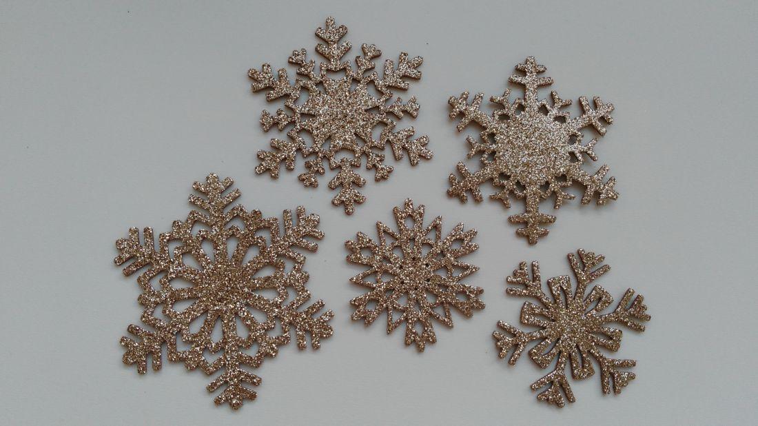 Csillogó dekorgumi hópihék - 5 db / csomag - világosbarna