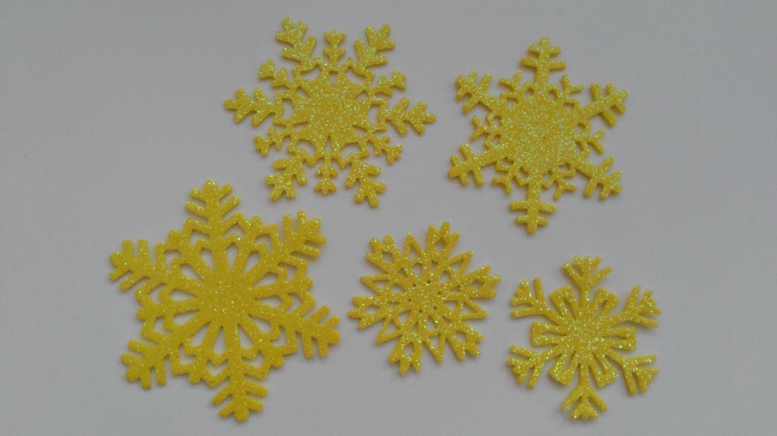 Csillogó dekorgumi hópihék - 5 db / csomag - citrom