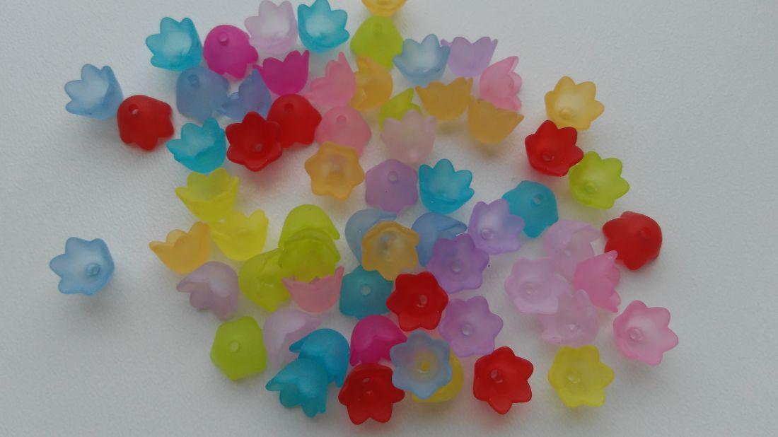 Akril virág - 10x7mm - 50 db / csomag - vegyes szín
